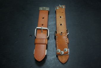 Front hood strap set in leather for 356